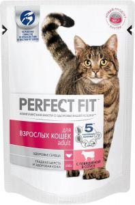 Корм для кошек PERFECT FIT пауч с говядиной 85г
