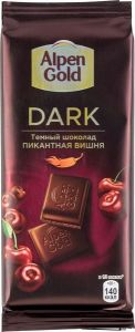 Шоколад ALPEN GOLD Темный с вишневыми кусочками со вкусом перца и чили 85г