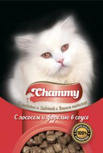 Корм для кошек CHAMMY Пауч лосось/форель в соусе 85г