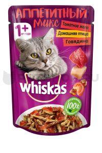 Корм для кошек WHISKAS Говядина/птица в томатном желе 85г