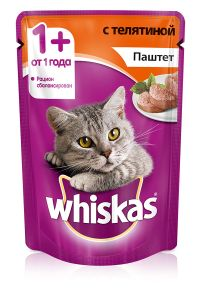 Корм для кошек WHISKAS Паштет телятина 85г