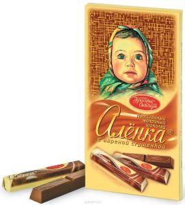 Шоколад АЛЕНКА Молочный с вареной сгущенкой в стиках Красный октябрь 100г