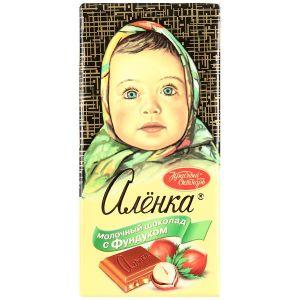 Шоколад АЛЕНКА с фундуком молочный Красный октябрь 100г