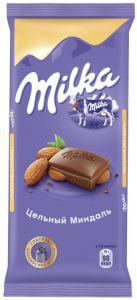 Шоколад MILKA Молочный цельный орех/миндаль 90г