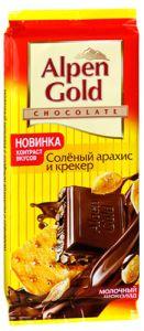 Шоколад ALPEN GOLD соленый арахис/крекер 90г