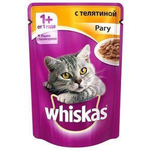 Корм для кошек WHISKAS рагу с телятиной 85г