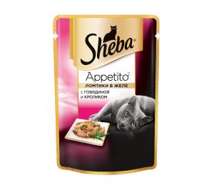 Корм для кошек SHEBA Appetito говядина/кролик желе 85г