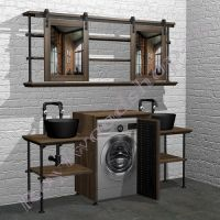 """Комплект мебели для ванной с двумя раковинами под стиральную машину """"Лофт-2"""""""