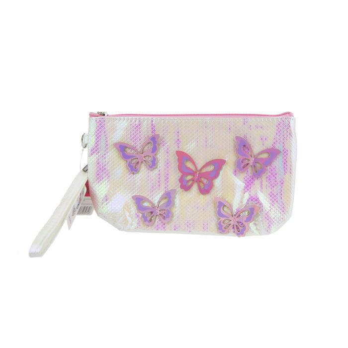Lukky косметичка с голограф. накладными бабочками жемчужная,24х13 см,бирка,пакет