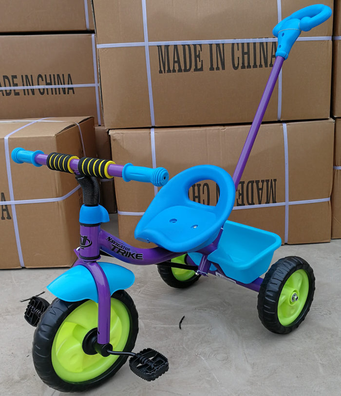 Вело 3-х кол, EVA колеса, задняя корзина, поворот руля, ручка, тяга, мальчик