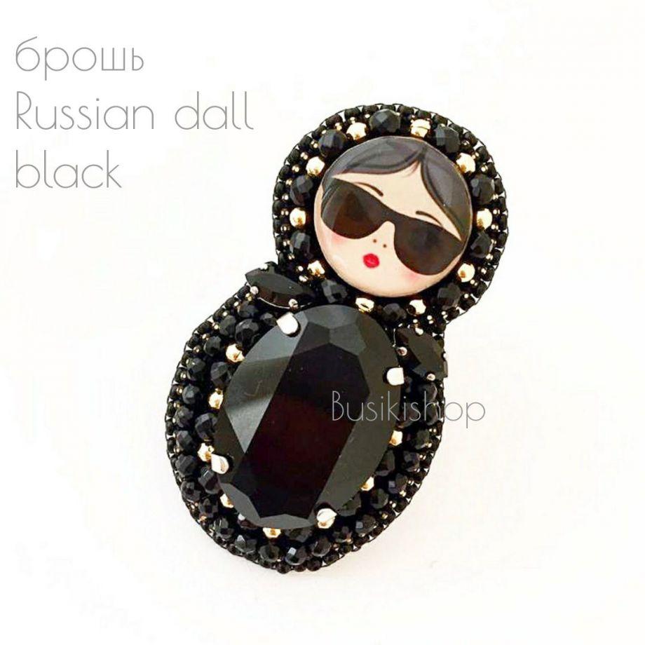 "Брошь ""Russian doll black"" (Сваровски)"