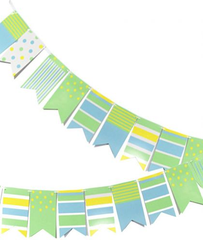 Гирлянда-флажки Точки и полосы, зеленый и желтый