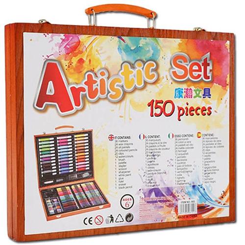 Художественный набор в деревянном чемоданчике, 150 предметов.
