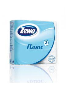 Бумага туалетная ZEWA Plus 4шт Белая 2 слоя б/аромата
