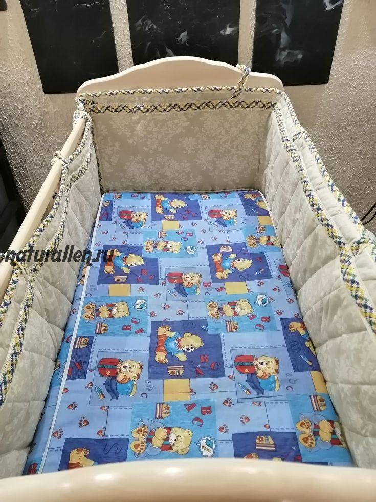 Льняные бортики на детскую кроватку