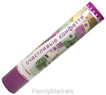 Хлопушка Счастливые конфетти в виде евро, 1 шт