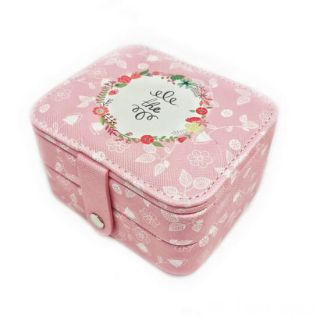 Компактная шкатулка для ювелирных изделий, Цвет: Розовый, Орнамент: The