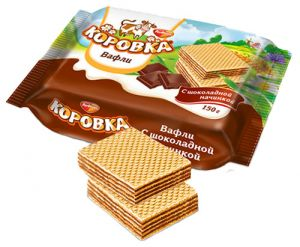 Вафли КОРОВКА с шоколадной начинкой Рот Фронт 150г