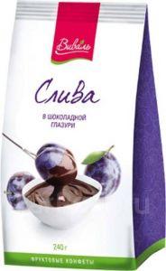 Конфеты ВИВАЛЬ Слива в шоколадной глазури 180г