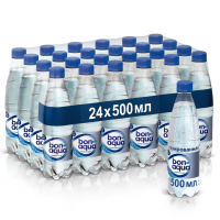 Вода питьевая BONAQUA газированная в упаковке, 24х0,5л