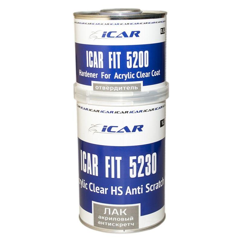 ICAR FIT 5230 Акриловый бесцветный лак HS антискретч 2+1, набор 1л.+ 500мл.