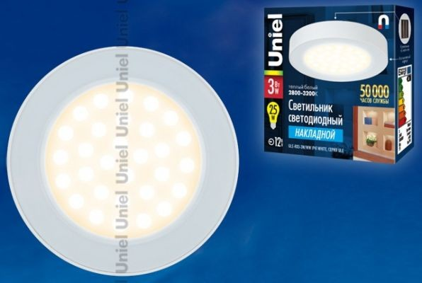 Светильник светодиодный Uniel 3W ULE-R03-3W/WW IP41