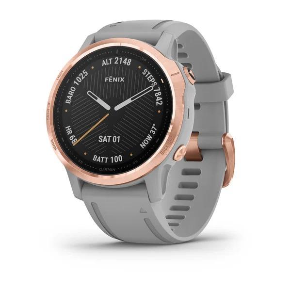 Часы Garmin Fenix 6S Sapphire розовое золото с серым ремешком