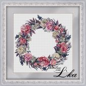 """Wreath with peonies"". Digital cross stitch pattern."