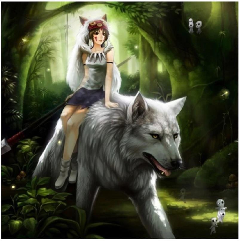 Аниме мозаика для вышивания 5D- Wolf Princess