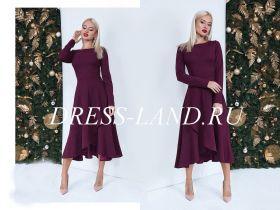 Элегантное бордовое платье с расклешенной юбкой
