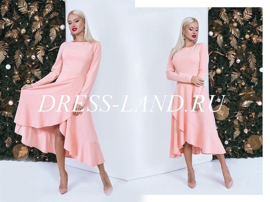 41f2c9db4ff Элегантное платье пудрового цвета с расклешенной юбкой
