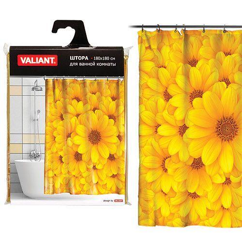 Штора для ванной комнаты 180*180см Желтые цветы  Valiant арт.   YS/064372