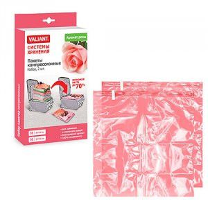Набор цветных чехлов мешков для вакуумного хранения, 2 шт.,60*50 см, аромат розы  Valiant арт.   RMS65