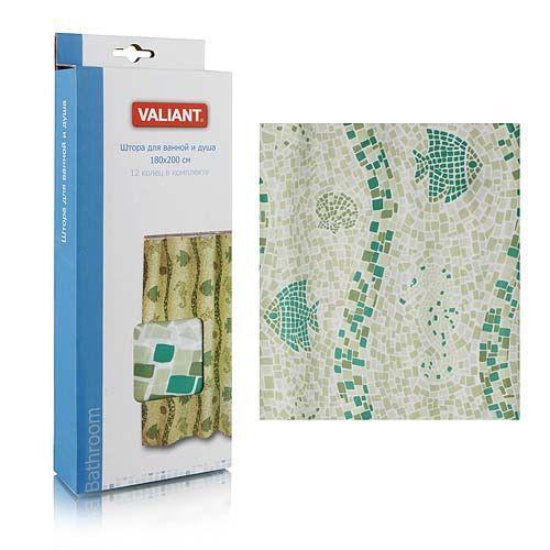 Штора для ванной комнаты 180*180см Морская мозаика зеленая полиэстр  Valiant
