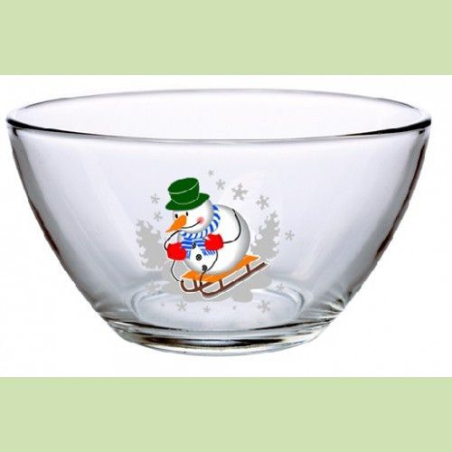 Салатник стекло h-78 мм (снеговики) б/уп