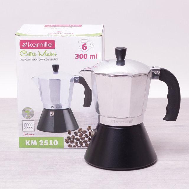 Кофеварка гейзерная 300мл (6 порций) из алюминия с широким индукционным дном КМ-2510 Kamille