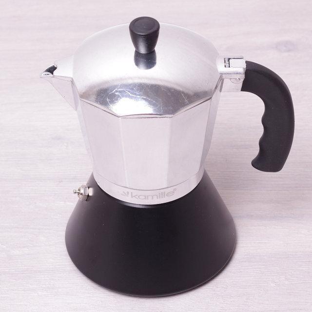 Кофеварка гейзерная 450мл (9 порции) из алюминия с широким индукционным дном КМ-2508 Kamille