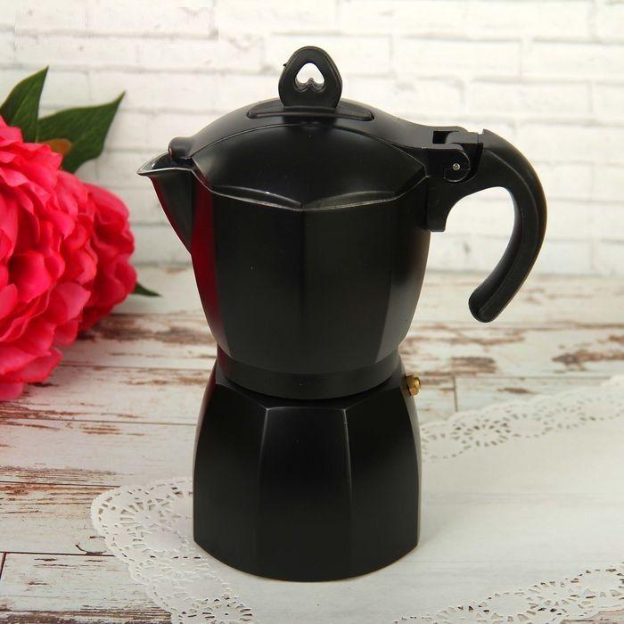 Кофеварка гейзерная Блэк на 6 чашек 300 мл алюминий