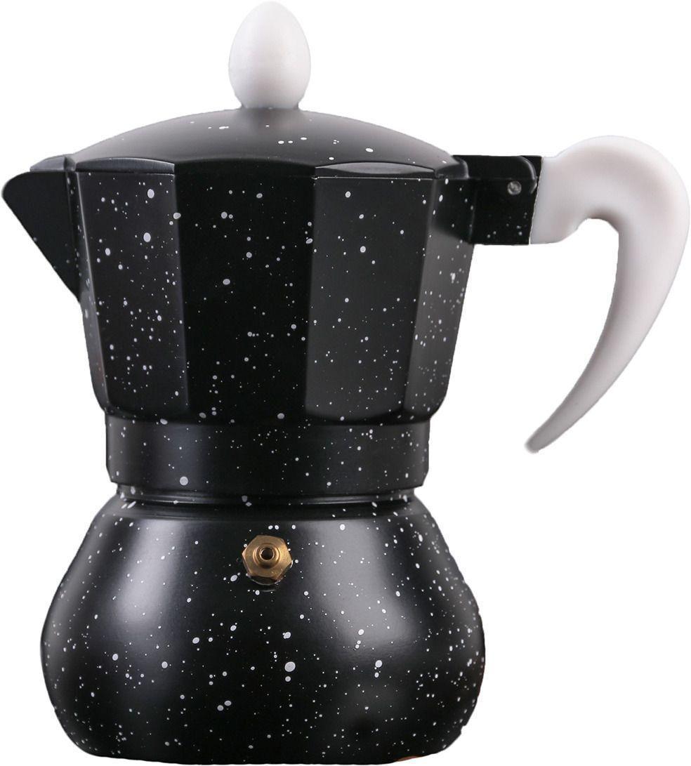 Кофеварка гейзерная Космос, на 6 чашки, алюминий, цвет чёрный мрамор