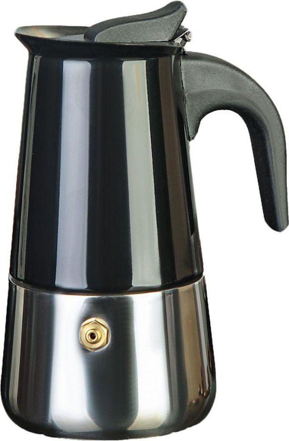 Кофеварка гейзерная Итальяно, на 6 чашек, нерж. сталь, цвет черный