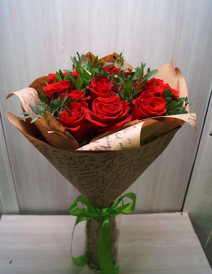 15 роз - Эксплорер с писташью (60 см)