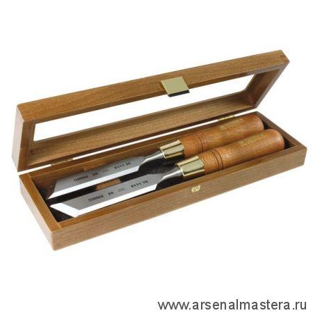 Набор в деревянном ящике из 2 стамесок NAREX Wood Line Plus плоских косых 26 мм (правая, левая) 851676