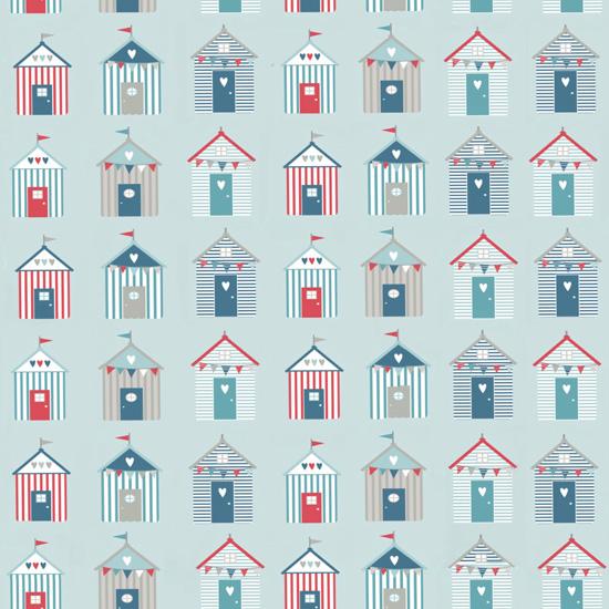 Хлопок Перкаль Морские домики на голубом 50х37