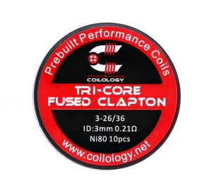 10 шт. Coilology Tri-Core Fused Clapton Coil, набор готовых спиралей