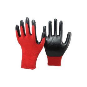 перчатки нейлон красные черный облив 12/600