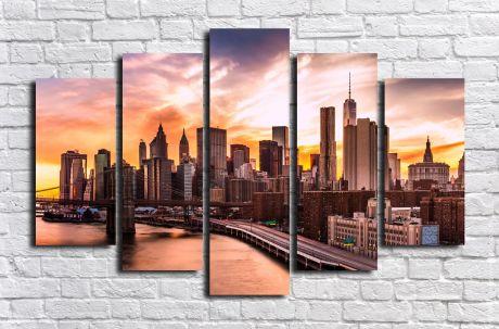 Модульная картина город 80