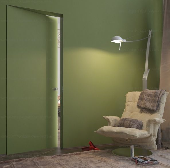 Дверь-невидимка Invisible скрытого монтажа ПОД ПОКРАСКУ ВНУТРЕННЕГО открывания дверь невидимка. Высота от 2000 до 2300 в наличии!