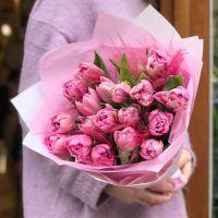 19 пионовидных тюльпанов в красивой упаковке