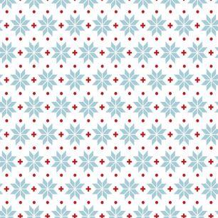 Хлопок Перкаль Снежинки на белом 50х37