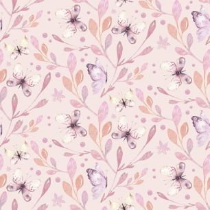 Хлопок Перкаль Бабочки на розовом 50х37